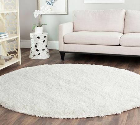 Covor rotund lana pufos alb
