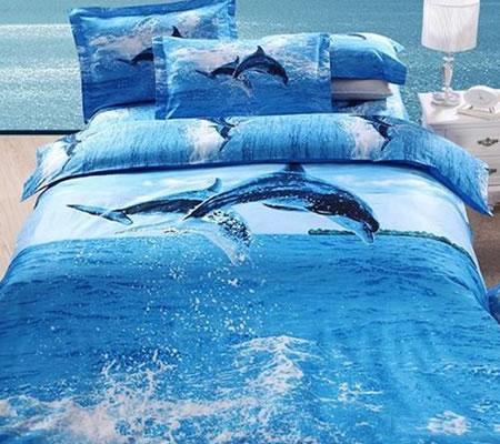 Lenjerie de pat 3D cu delfini