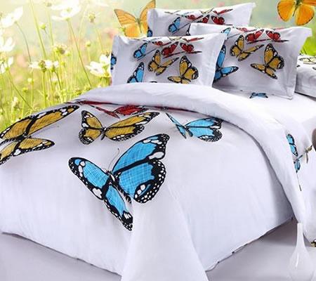 Lenjerie de pat 3D cu fluturi multicolori