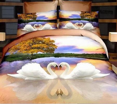 Lenjerie de pat 3D cu lebede