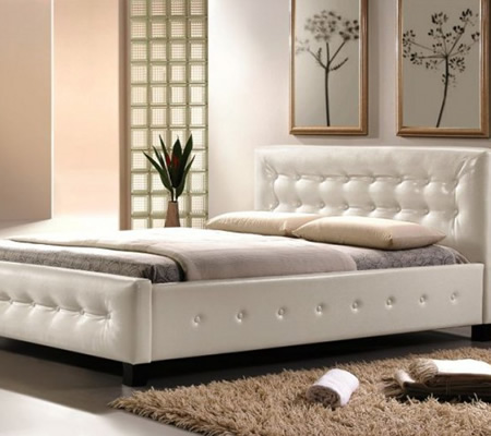 Pat dormitor tapitat piele ecologica alb ieftin
